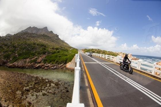 Riding across a bridge