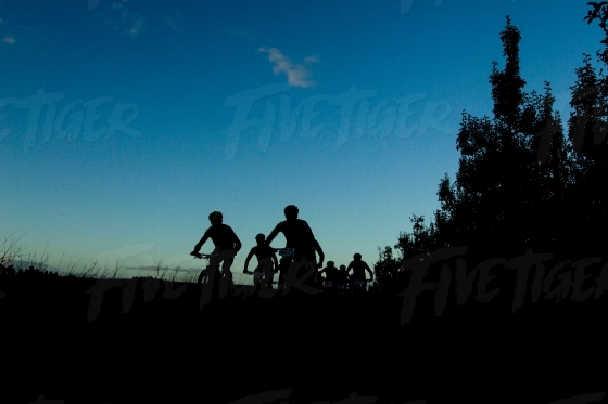 Silhouette shot of a group of mountain bikers