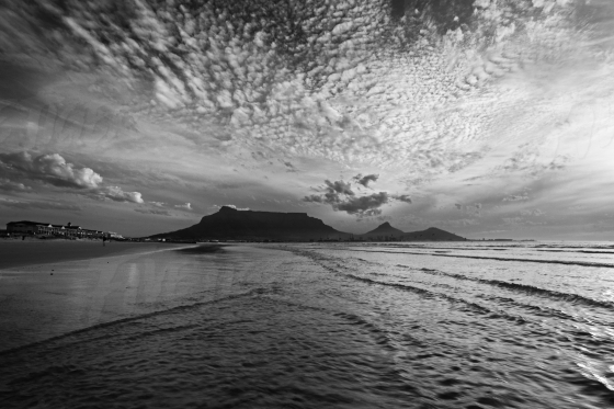 Black and white photo of Table Mountain