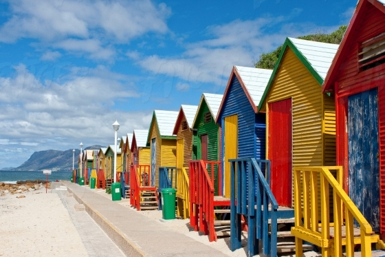Iconic colourful changing rooms at St James beach