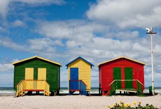 Iconic colourful changing rooms at Muizenberg beach