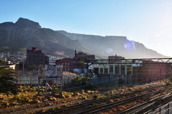 Devils Peak and Table Mountain behind the railway line