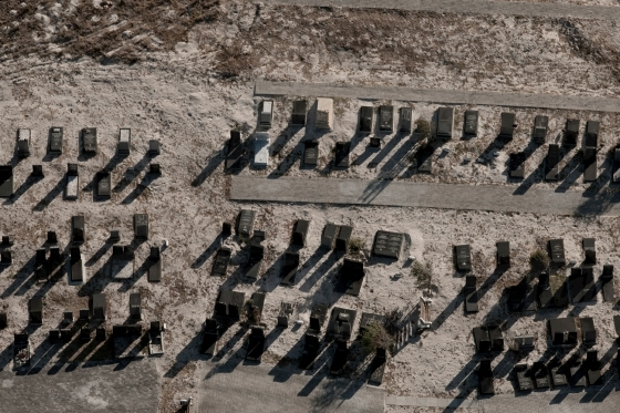 Aerial of a graveyard