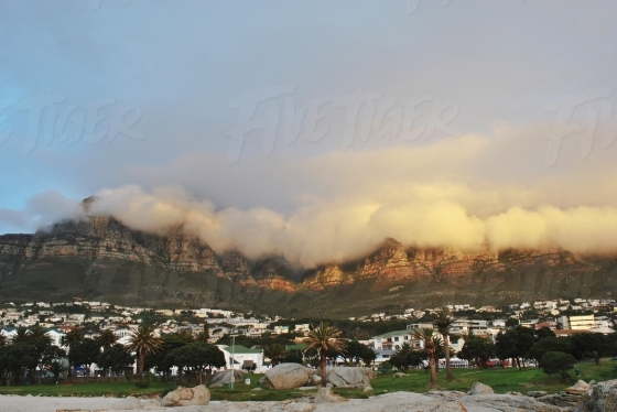 Clouds over Cape Town mountains