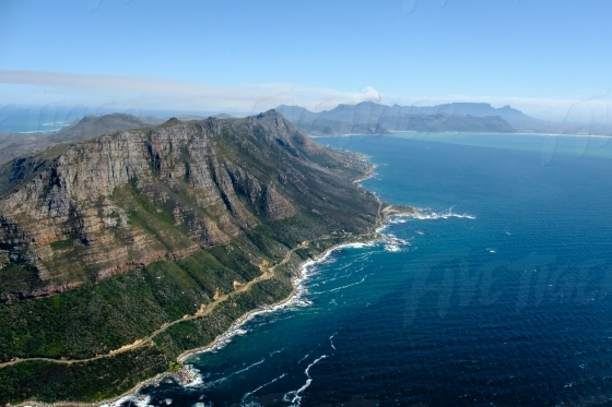 Aerial view of Cape Point from a drone