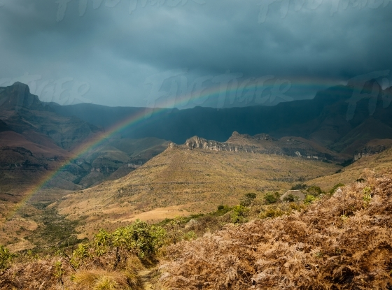 Rainbow on Drakensberg mountains