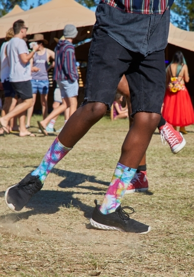 Hipster dancing at a festival