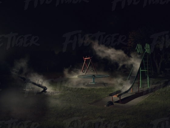 Eerie childrens park at night