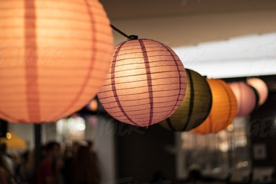 Row of Chinese lanterns at a house party