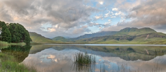 Reflection off still water in the Drakensberg