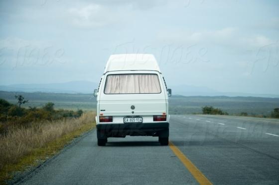 Minibus van on a road trip