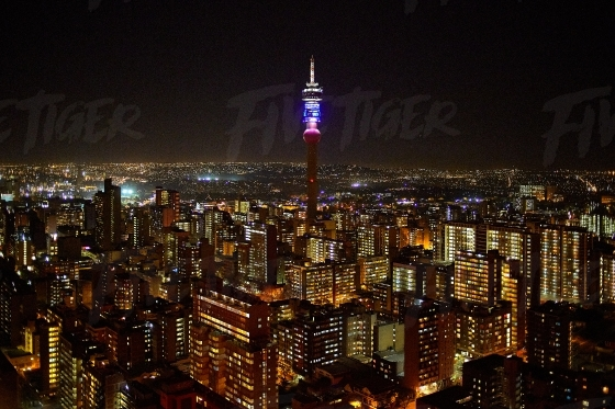 Cityscape of Johannesburg at night