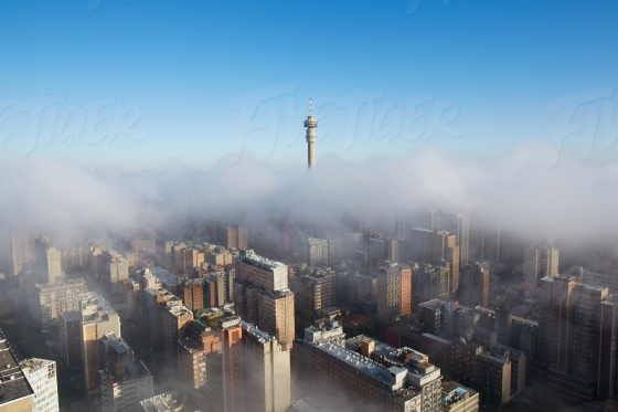 Johannesburg cityscape in the clouds