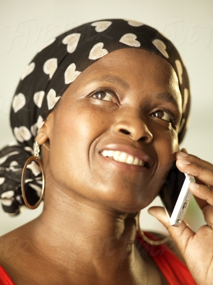 Beautiful South African women on the phone