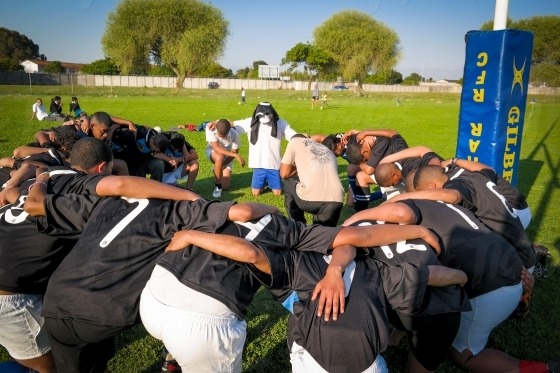 Prayer before a rugby game