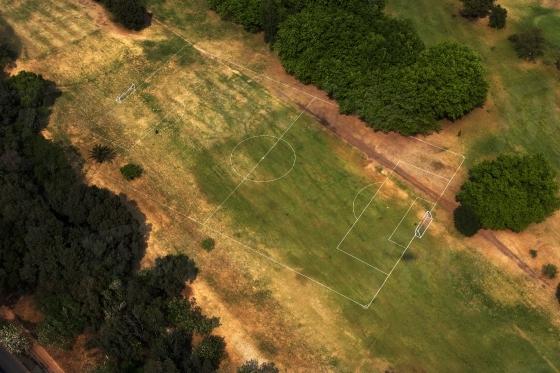 Aerial soccer field