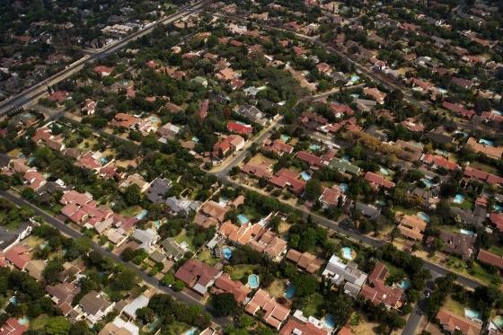 Aerial angle over suburbia