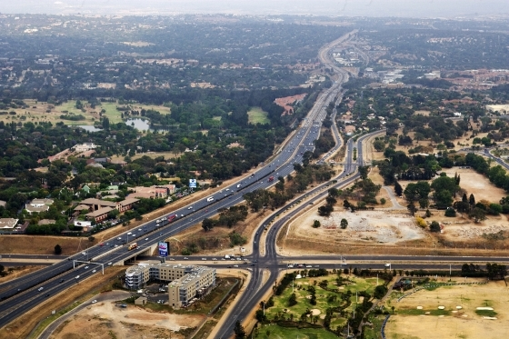 Aerial shot over major highway