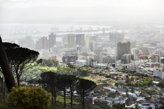 Veiw of misty Cape Town