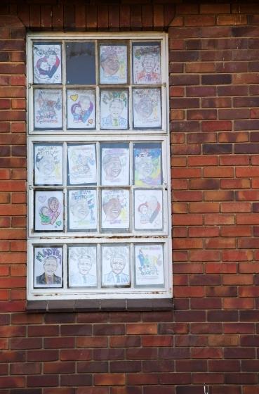 Drawings in a window