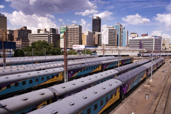 Parked trains in the city of Johannesburg