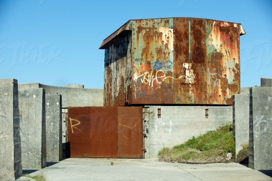 Rusted and concrete building