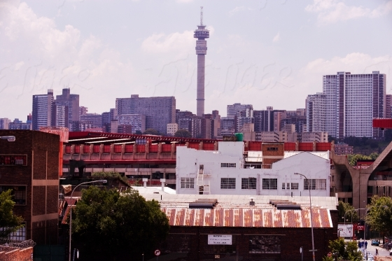 The Hillbrow Tower in the Johannesburg skyline