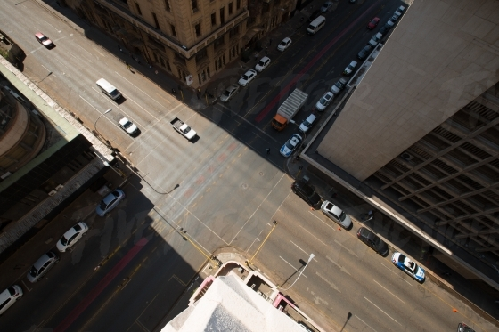 Looking down at an intersection