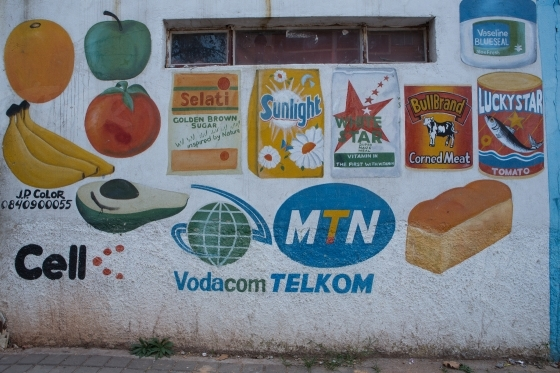 Hand painted branding on a wall