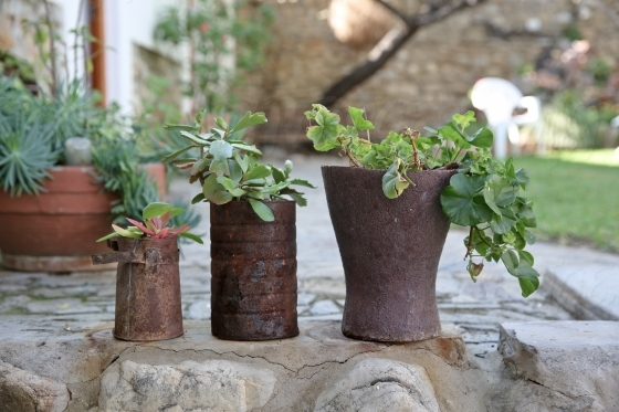 Rusty tin flower pots