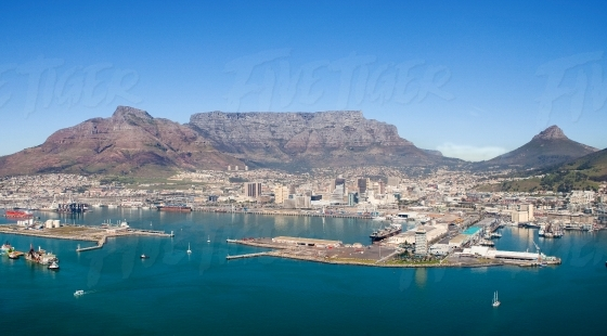 Table Mountain, Devils Peak,V&A Waterfront, harbour and Lions Head