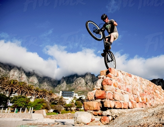 Daring cyclist on a trick bicycle