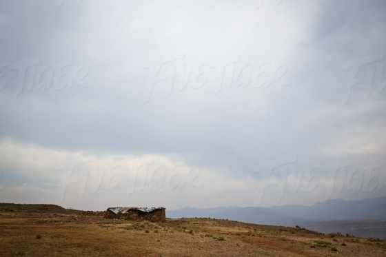 Rural stone house on a hill