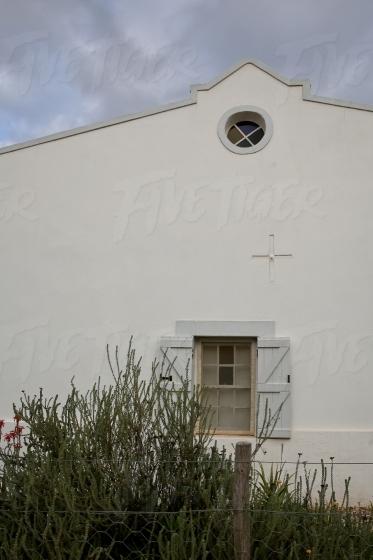Fynbos in front of old Dutch church