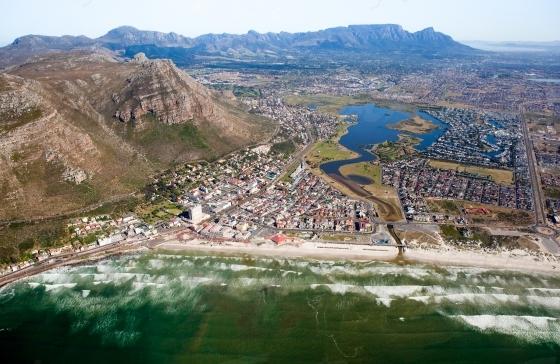 Aerial view of Muizenberg beach