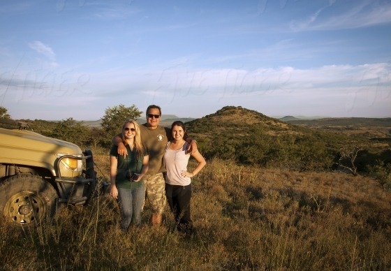 Family on a game drive