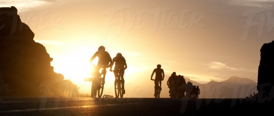 Backlit cyclists in a race